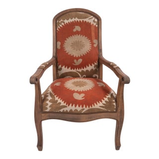 Boho Chic Suzani Embroidered Bergere Chair For Sale