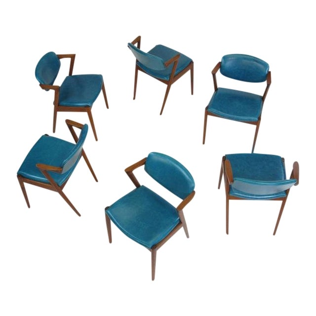 Six Kai Kristiansen Teak Danish Dining Chairs in Turquoise Leather, 20 Available For Sale