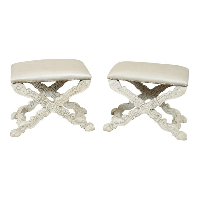 Italian Baroque Style Carved White Painted X Stools, Benches - a Pair For Sale