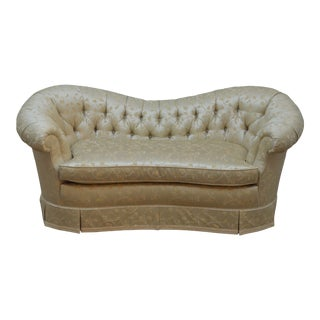 Baker Tufted Upholstered Settee Loveseat For Sale