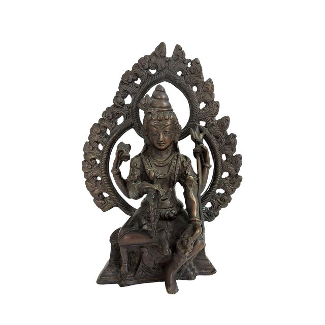 20th Century Antique Bronze Hindu Statue of Shiva, Seated For Sale