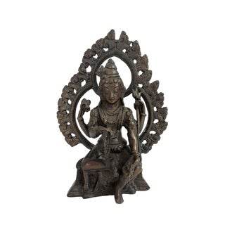 Antique Bronze Hindu Statue of Shiva, Seated For Sale