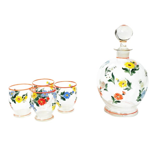 Vintage 5-Piece Floral Czech Decanter Set - Image 1 of 6