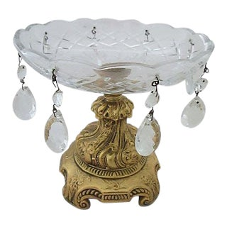Baroque Style Brass & Crystal Bowl