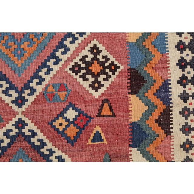 Antique Persian Gashghaie Kilim Rug- 4′10″ × 8′8″ - Image 3 of 4