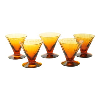 Tiffin Modern Glass Narrow Optic Cordials Signed C 1925 - Set of 5 For Sale