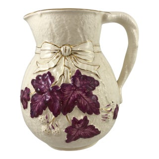 Leaf Motif Majolica Pitcher