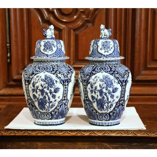 Mid-20th Century Dutch Blue and White Royal Maastricht Delft Ginger Jars-a Pair For Sale In Dallas - Image 6 of 9