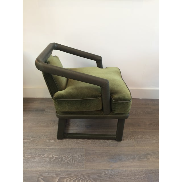 Green Leather & Mohair Lounge Chair - Image 5 of 10