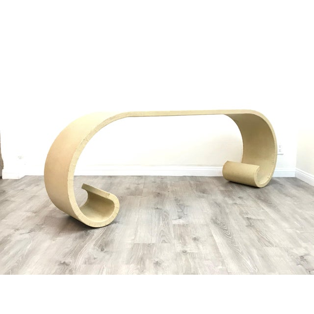 Mid Century Cream Raffia Console/Sofa Table For Sale - Image 11 of 11