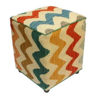 Arshs Corrin Ivory/Rust Kilim Upholstered Handmade Ottoman For Sale