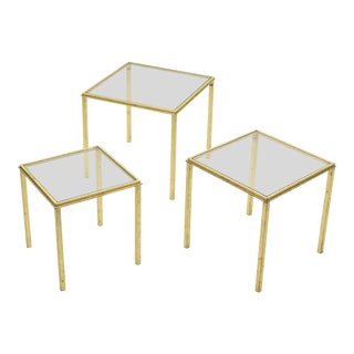 Mid-Century Roger Thibier Gilt Wrought Iron Gold Leaf Nesting Tables 1960s - Set of 3 For Sale