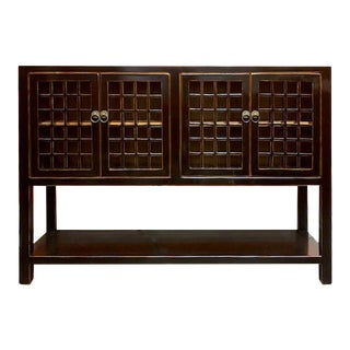 Asian Style Black Panel Door Console For Sale