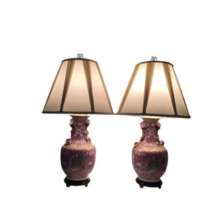 1990s Asian Fusion Pink Rose Table Lamps - a Pair