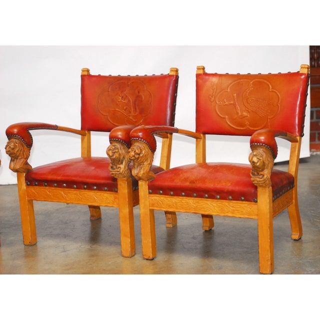Norwegian Folk Art Leather Armchairs - Set of 4 - Image 3 of 10