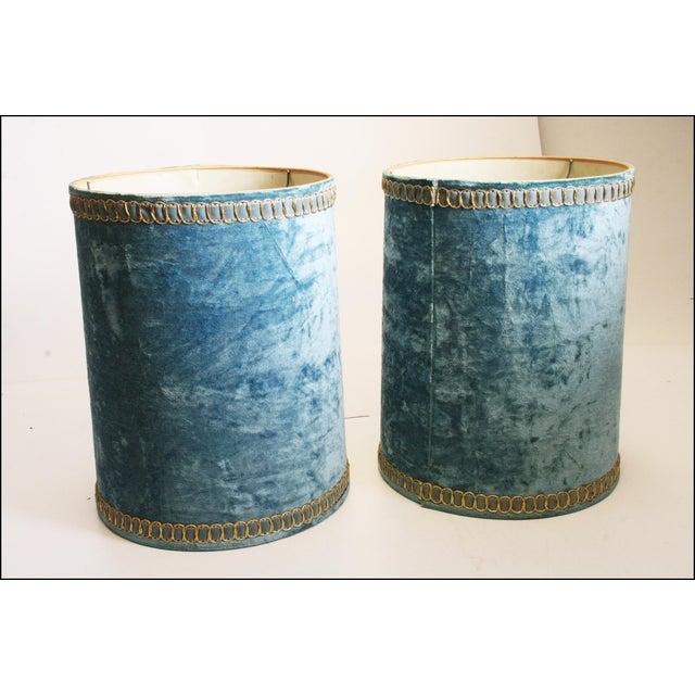 Vintage Hollywood Regency Blue Crushed Velvet Lamp Shades - A Pair - Image 3 of 10