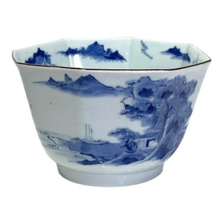 18th Century Octagonal Antique Chinese Porcelain Blue & White Scenic Design Bowl For Sale