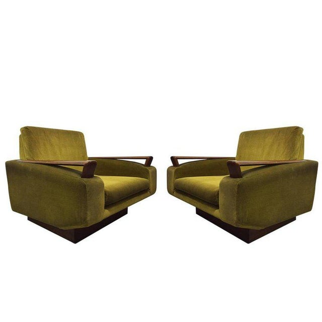 Green Pair of Jacques Adnet Sculptural Lounge Chairs For Sale - Image 8 of 8