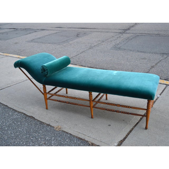 Late 19th Century Antique Peacock Velvet Chaise Lounge For Sale - Image 11 of 11