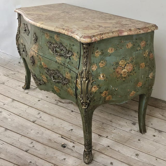 Louis XV 19th Century French Louis XV Painted Marble Top Commode For Sale - Image 3 of 13