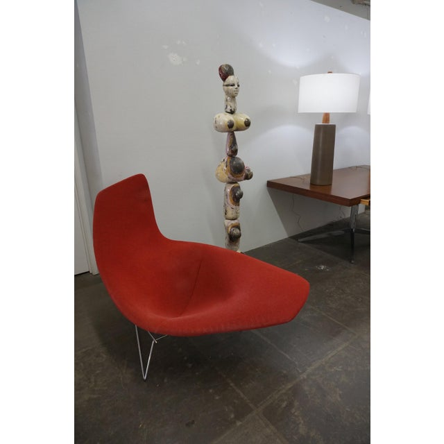 Fabric Bertoia Assymetric Red Upholstered Lounge Chair for Knoll For Sale - Image 7 of 8