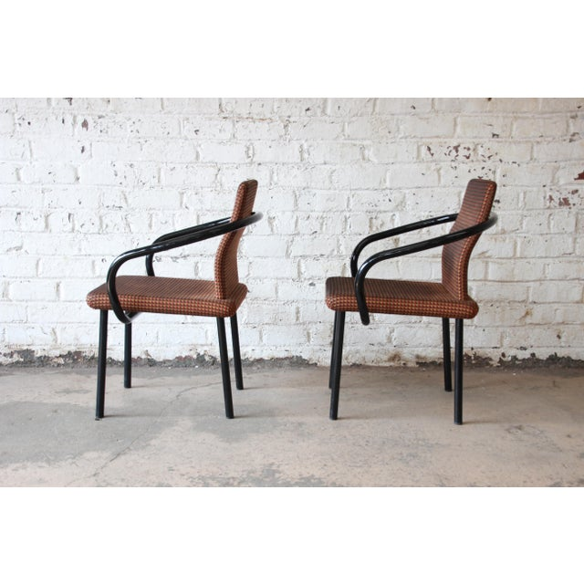 """1980s Ettore Sottsass for Knoll """"Mandarin"""" Armchairs - a Pair For Sale - Image 5 of 11"""
