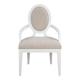 Parisienne Arm Chair in Linen For Sale