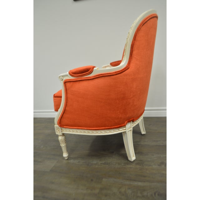 Orange Pair of Louis XVI Style Painted Bergere Chairs Newly Uphostered in a Tangerine Velvet. For Sale - Image 8 of 10
