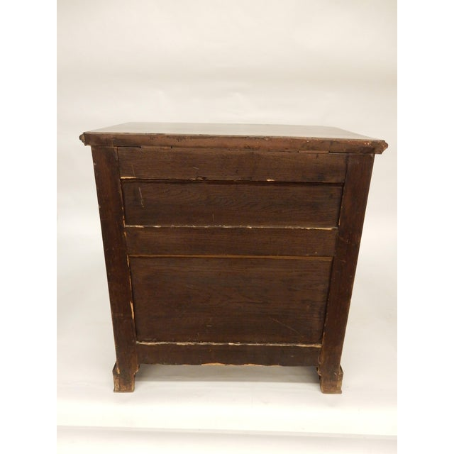 Metal Small English Four Drawer Walnut Chest For Sale - Image 7 of 8