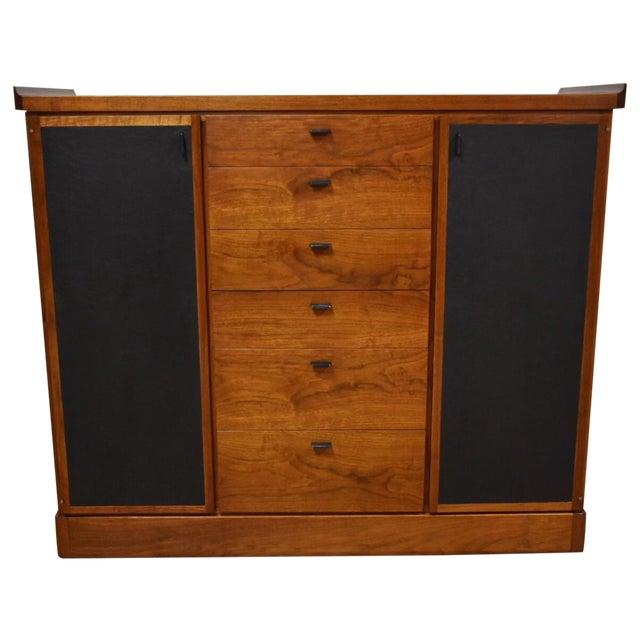 Walnut and Black Vinyl Armoire Dresser - Image 1 of 11