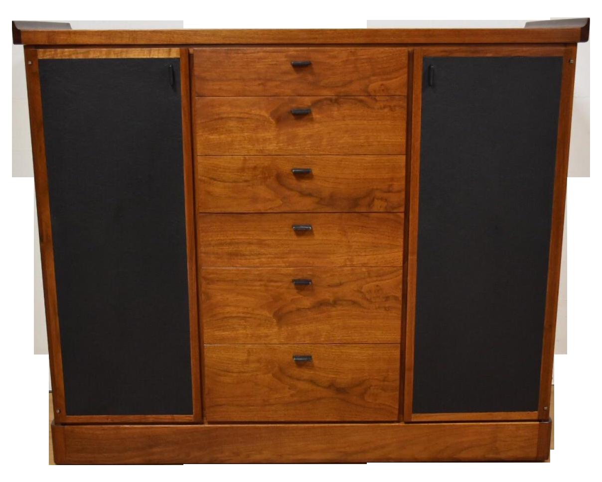 Walnut And Black Vinyl Armoire Dresser