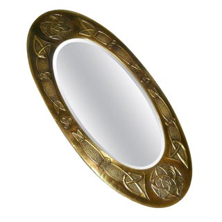 Arts and Crafts Celtic Knot Design Oval Bronze Wall Mirror From United Kingdom For Sale