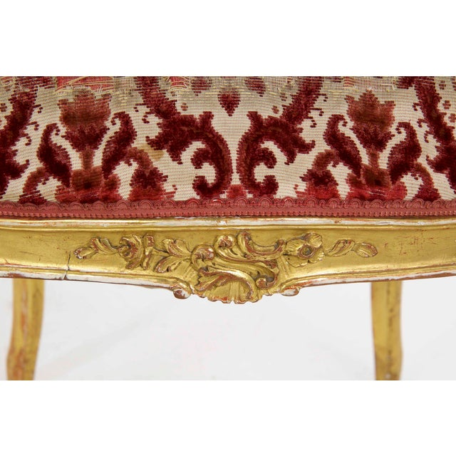 French Louis XV Style Carved Giltwood Antique Arm Chairs - Set of 2 For Sale - Image 12 of 13