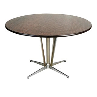 Hand-Hammered Copper Top Circular Dining Table, Circa 1960