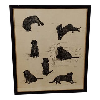 Late 20th Century Black Lab Vignettes Framed Dog Sketches Under Glass For Sale