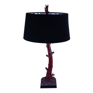 20th Century Art Deco Red Coral Lamp For Sale