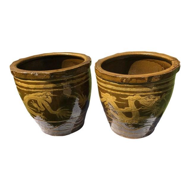 Vintage Asian Dragon Pot/Planters - a Pair