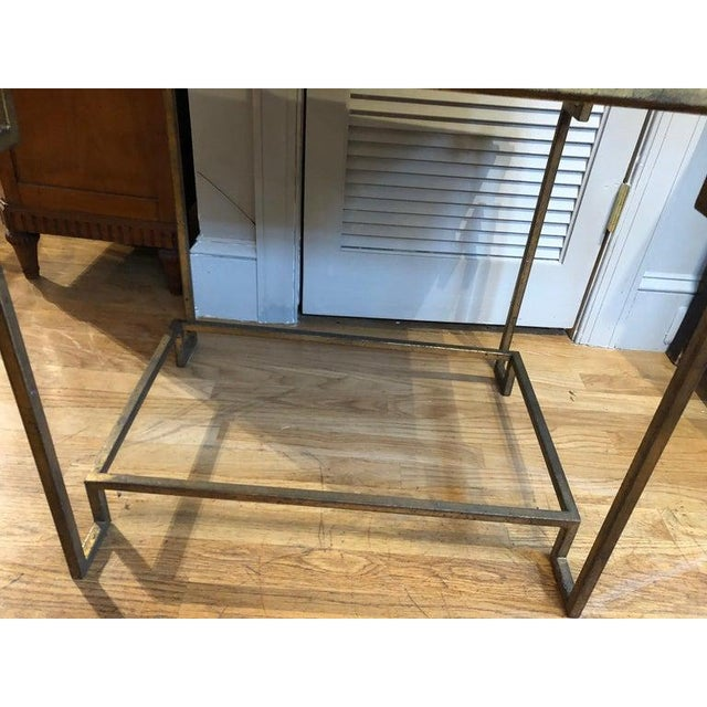 2010s Art Deco Style Gilt Metal and Fossilized Limestone Side Table For Sale - Image 5 of 6