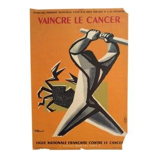 """Bernard Villemot """"Vaincre Le Cancer"""" Beating Cancer Poster For Sale"""