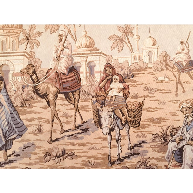 Figurative Large 19th Century Orientalist Scene and Moorish Architecture Tapestry For Sale - Image 3 of 12