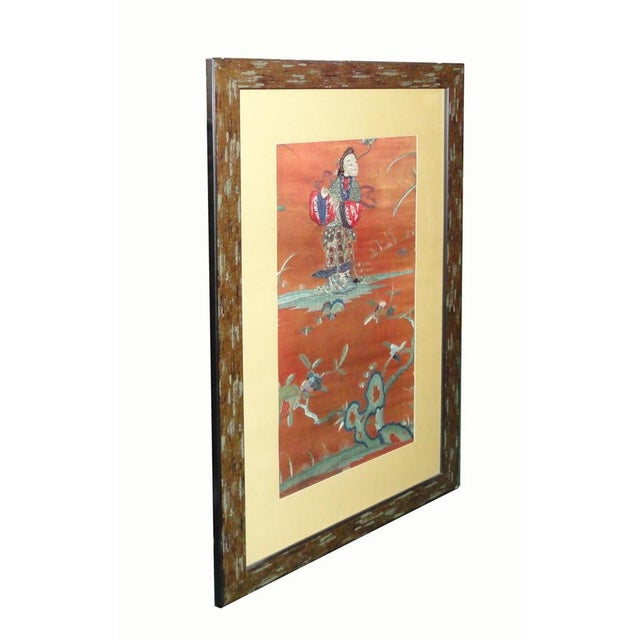 The center vintage hand cross pattern hand embroidery of oriental flower and a lady is reframed. It adds a touch of...