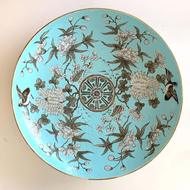 Chinese 19th Century Chinese Export Powder Blue Ho Ho Bird Motif Charger For Sale - Image 3 of 12