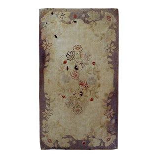 1900s handmade antique American Primitive Hooked rug 2.5' x 4.5' For Sale