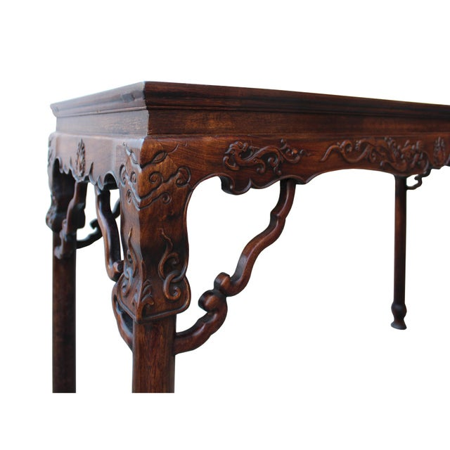 Rosewood Chinese Brown Huali Rosewood Dragon Motif Round Apron Altar Table For Sale - Image 7 of 8