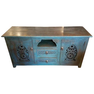 Moroccan Turquoise Media Stand, Cedar Wood For Sale