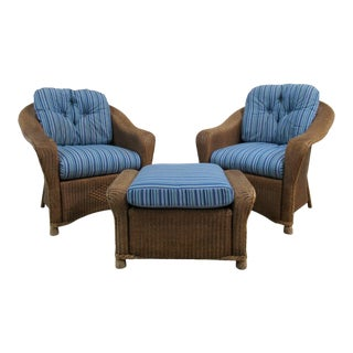 Vintage Indonesian Woven Rattan Club Chairs & Ottoman - Set of 3 For Sale