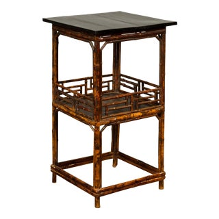 Chinese Antique Bamboo Lamp Table with Shelf, Geometric Patterns and Black Top For Sale