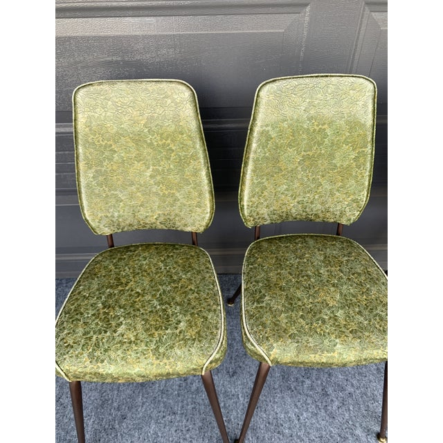 Mid-Century Modern Chromecraft Mid-Century Modern Green Upholstered Dinette Set - 7 Pieces For Sale - Image 3 of 11