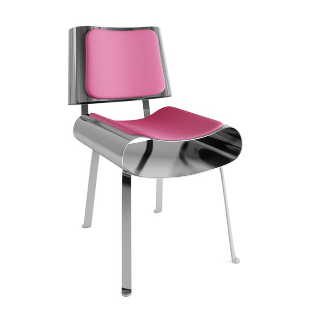 21st Century Contemporary Solid Metal Hand Made Dining Chair By Troy Smith. Built out of solid metal but with a light...