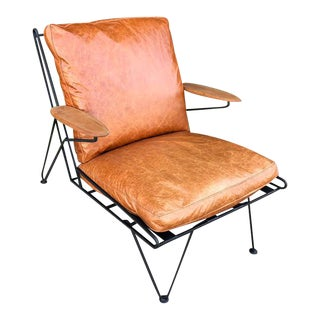 Mid-Century Iron Leather Lounge Chair